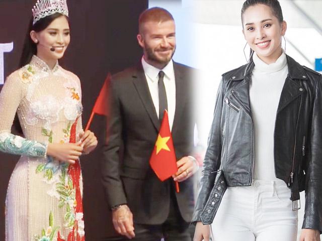 Hoa hậu Tiểu Vy rạng rỡ về nước sau lần gặp David Beckham