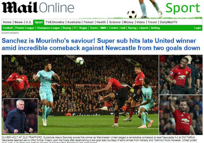 """MU thắng ngược: Báo Anh tung hô cứu tinh Sanchez, vẫn chờ Mourinho """"bay ghế"""" - 1"""