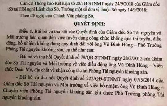 """Nhiều cán bộ Sở TN-MT Thanh Hóa """"mất ghế"""" sau rà soát - 1"""