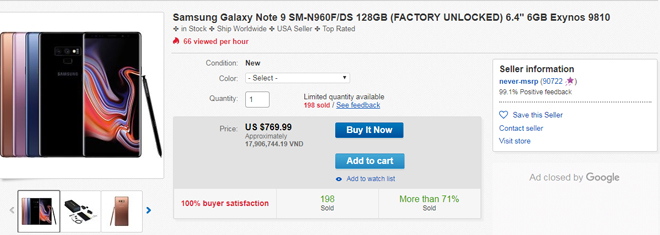 iPhone Xs Max bán ra không lâu, Galaxy Note 9 đã hạ giá mạnh - 1
