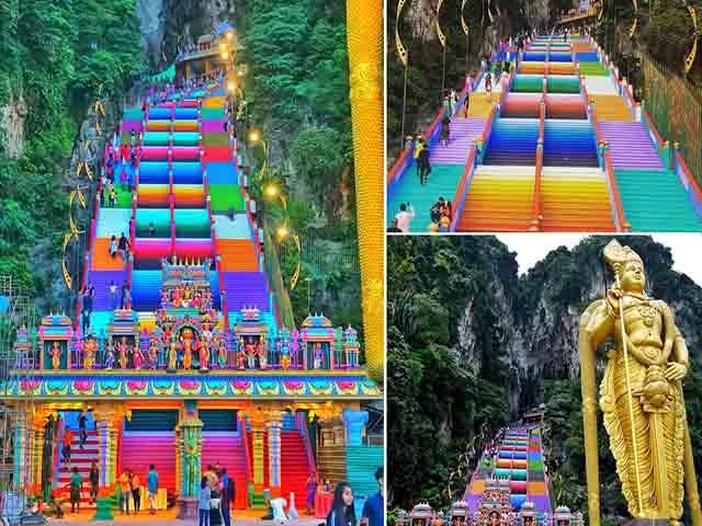 Vượt 272 bậc thang cầu vồng để đến ngôi đền cầu được ước thấy - 1