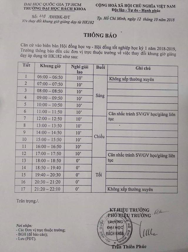 """Sinh viên ĐH Bách khoa TPHCM hoang mang với lịch học """"lạ"""" từ 6h-22h - 1"""
