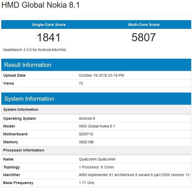 Nokia 8.1 xuất hiện trên GeekBench đi kèm chip Snapdragon 710 - 1