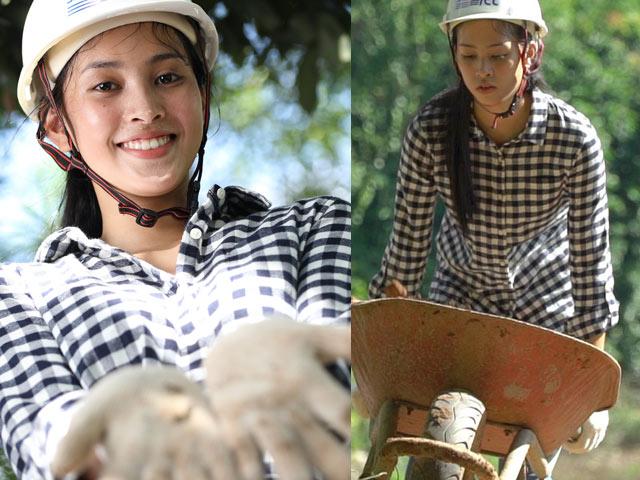 Hoa hậu Tiểu Vy để mặt mộc, đào giếng trên bản