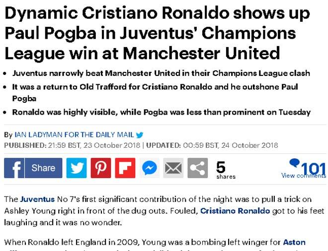 Juventus hạ MU cúp C1: Báo Anh chê Pogba chỉ giỏi làm màu, kém xa Ronaldo - 1