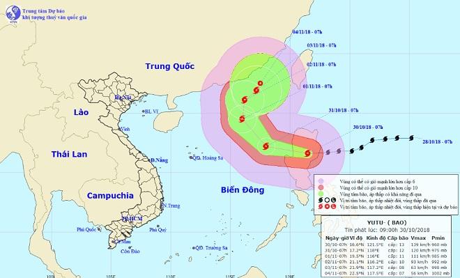 Siêu bão Yutu giật cấp 15 bắt đầu đổi hướng đi vào Biển Đông - 1