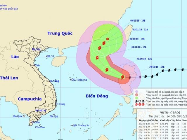 Siêu bão Yutu chính thức vào Biển Đông, phạm vi ảnh hưởng 280km