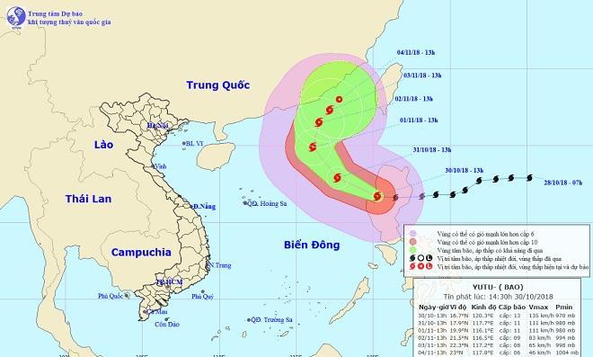 Siêu bão Yutu chính thức vào Biển Đông, phạm vi ảnh hưởng 280km - 1