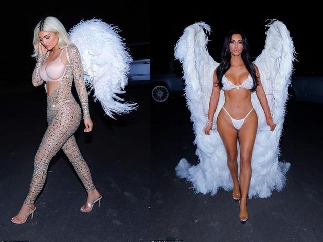"""Chị em Kim """"siêu vòng 3"""" hóa trang thành thiên thần nội y Victoria's Secret"""