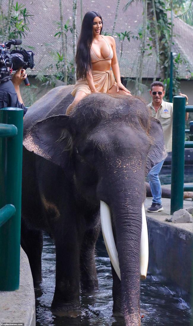 Mới đây, ngôi sao truyền hình thực tế được trông thấy trong bộ bikini màu nude, quấn chiếc sarong hờ hững rất sexy.Mặc dù sắp bước sang tuổi 40 nhưng Kim siêu vòng 3 vẫn tỏ ra rất hào hứng với trải nghiệm cưỡi voi.