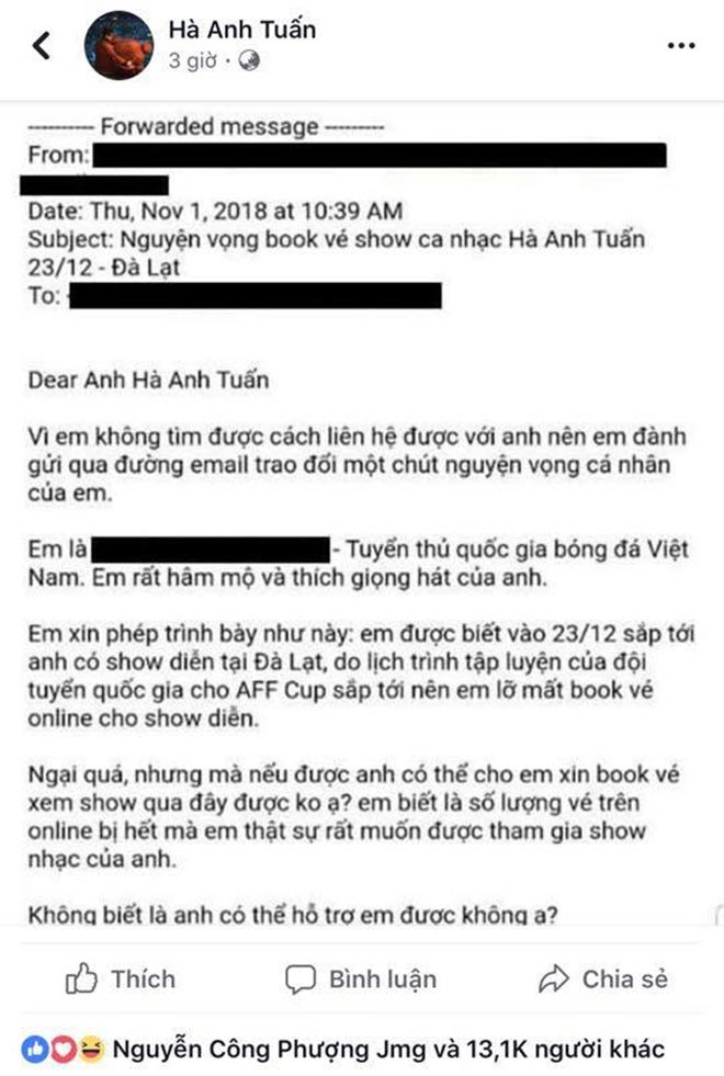 24h HOT: Who wrote the Vietnam Post & Ha Anh Tuan Concert Tickets? - 1