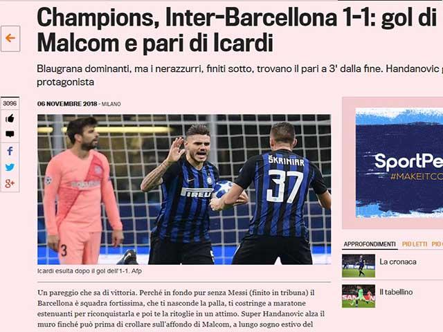 """Barca sa lầy ở Milano: Báo chí chê hàng thủ """"ăn hại"""", khen đàn em Messi"""