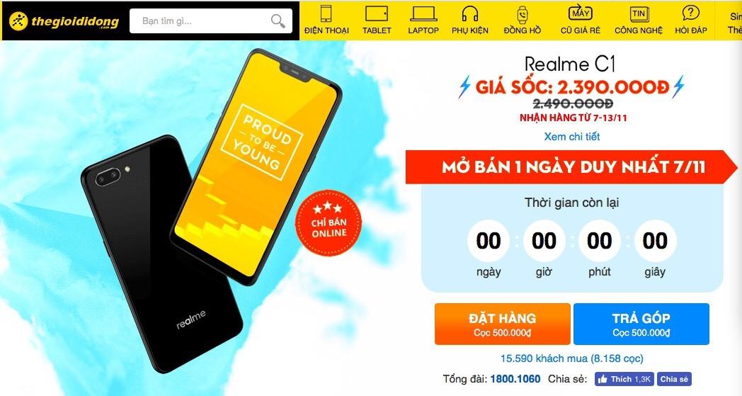 Vượt quá 11.000 máy bán ra, Realme C1 đang làm nóng tháng 11 - 1