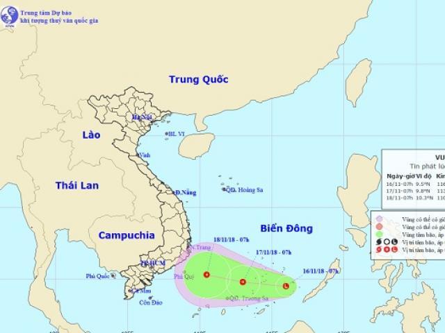 Xuất hiện vùng áp thấp đang mạnh lên hướng vào Nam Bộ