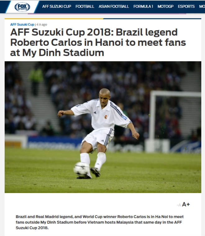Roberto Carlos comes to My Dinh to cheer up Malaysia in the fight