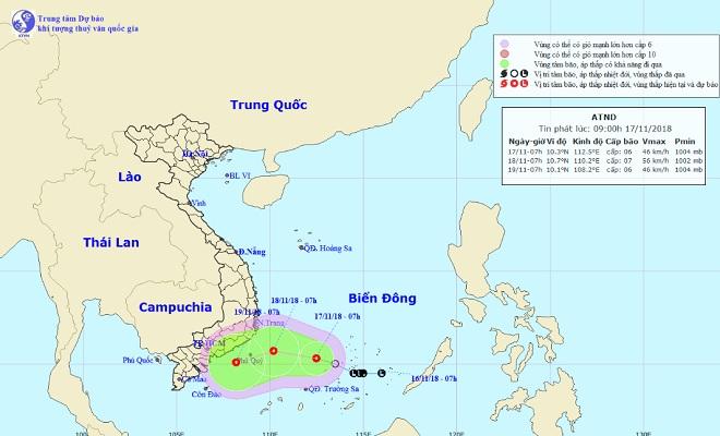 Áp thấp nhiệt đới giật cấp 8 hướng vào bờ, khu vực phía Nam hứng mưa lớn - 1