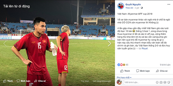 Vietnamese Facebook Việt Confidence Bring Every Three Points Against Myanmar - 1