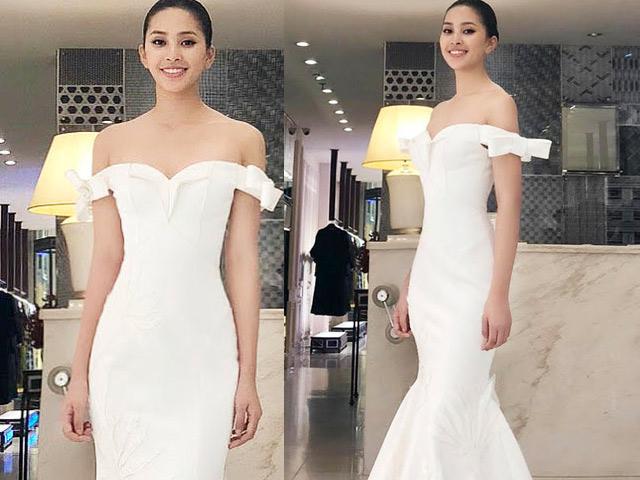Tiểu Vy mặc váy trắng tinh khôi, xếp hạng 32 Top Model Miss World
