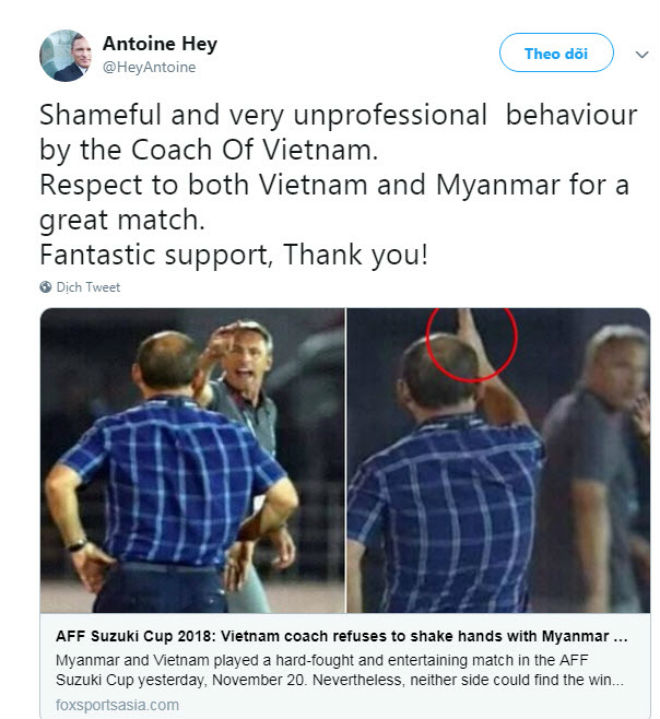 """Tranh cãi Myanmar - Việt Nam: Fan """"tấn công"""" HLV Đức vì chê thầy Park - 1"""