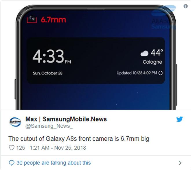 Galaxy S10 với thiết kế lỗ khuyên dần hiện hình qua Galaxy A8s - 1
