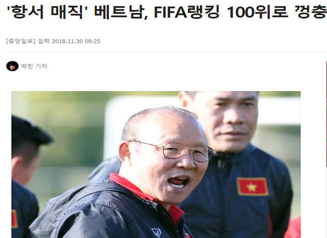 """Việt Nam vào Top 100 FIFA: Báo Hàn tung hô """"người hùng"""" Park Hang Seo - 1"""