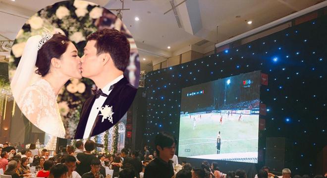 Đang làm cô dâu, Á hậu Thanh Tú bỗng hét ầm khi tuyển Việt Nam ghi bàn - 1