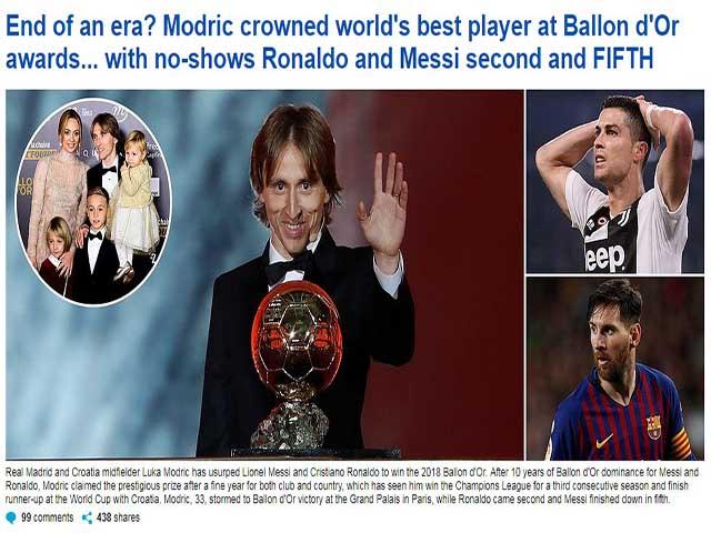 """Modric ẵm Quả bóng vàng: Báo chí ca tụng """"Vua mới"""", đoạn kết Ronaldo - Messi"""