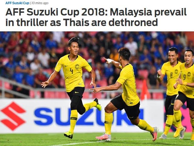 """Chấn động Malaysia loại Thái Lan: Báo châu Á khen """"Hổ vàng"""" quả cảm"""