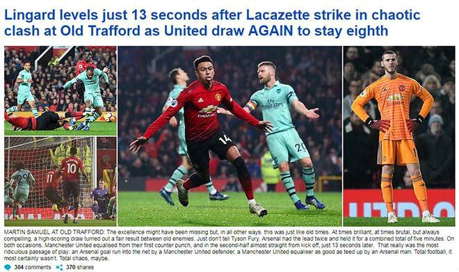 """MU """"hút chết"""" trước Arsenal: Báo Anh mê mẩn Lingard, thất vọng với De Gea - 1"""