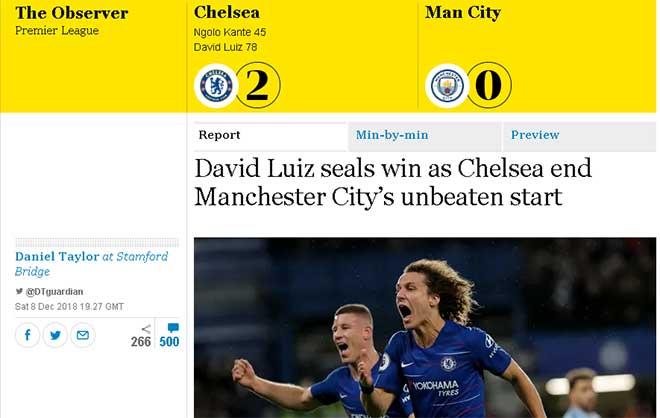 Man City đứt mạch bất bại: Báo Anh mừng rỡ ca tụng Chelsea - 1