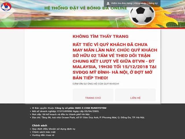 """Săn vé online trận Việt Nam - Malaysia: """"Điệp khúc"""" tê liệt web bán vé của VFF"""