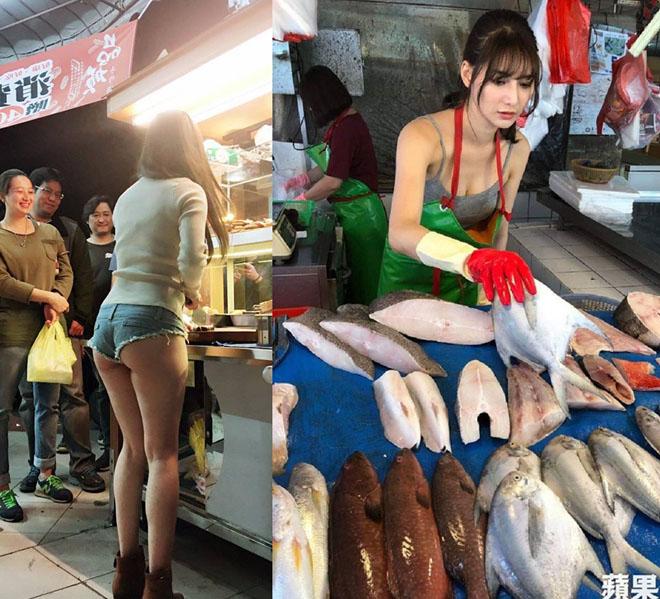 Chân dài bán thịt, bán cá xứ Đài nổi như cồn vì mặc không giống ai ở chợ - 1