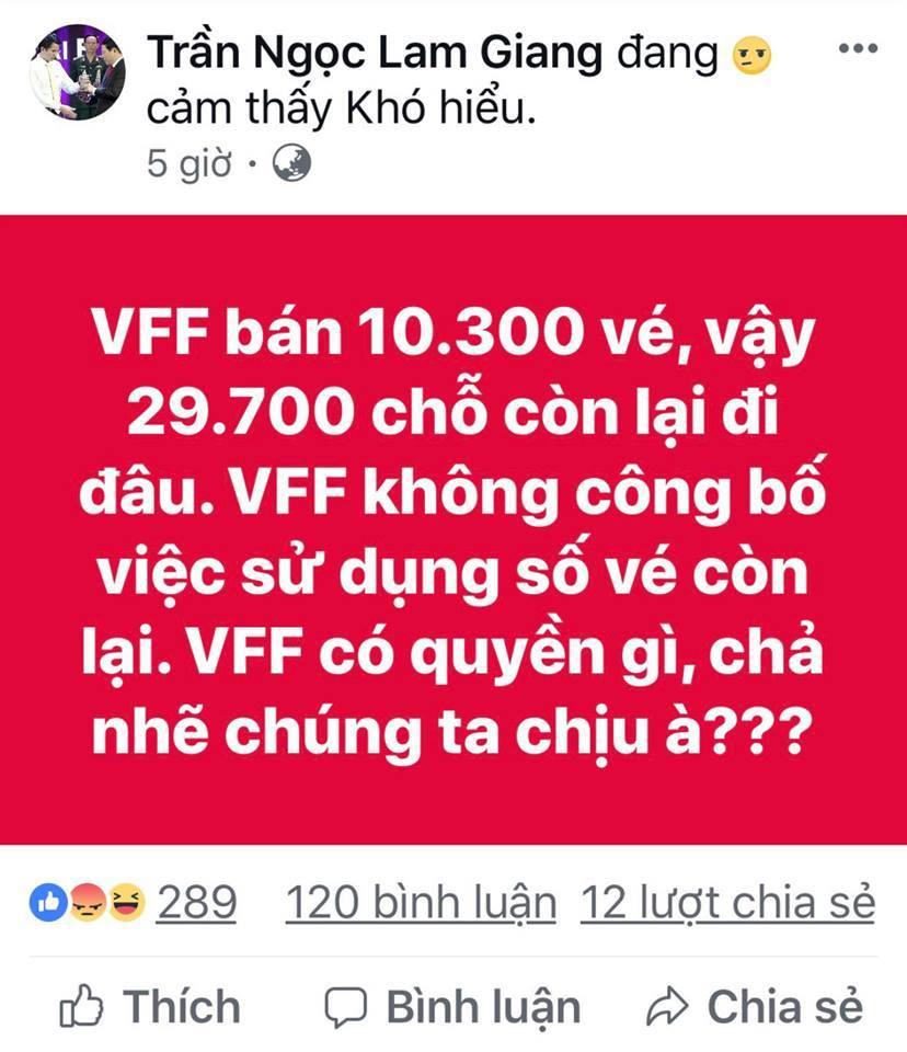 Ngoài 10.300 vé bán online, VFF phân phối vé còn lại cho ai? - 1