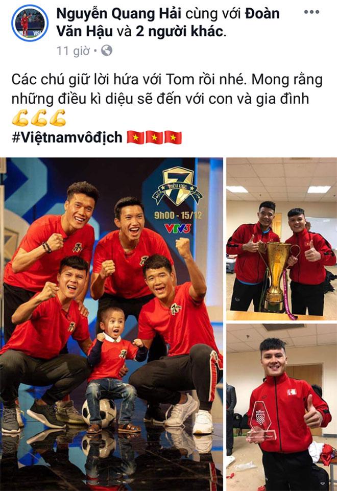 """Tuyển thủ Quang Hải dành ngôi vô địch AFF Cup cho cổ động viên nhí """"đặc biệt"""" - 1"""