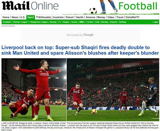 MU thua derby nước Anh: Báo chí tấn công Mourinho, khen Klopp và Shaqiri - 1