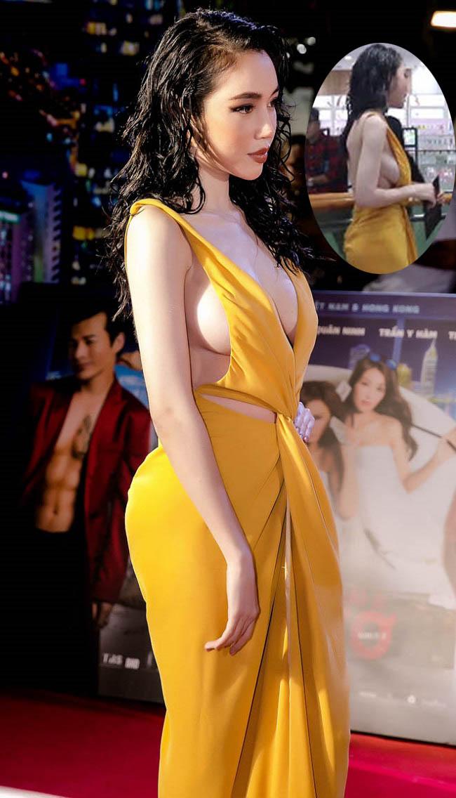 Chiếc váy này tuy rất gợi cảm nhưng ở những góc quay không như ý lại vô tình để lộ nhược điểm vòng 1 của Elly Trần.