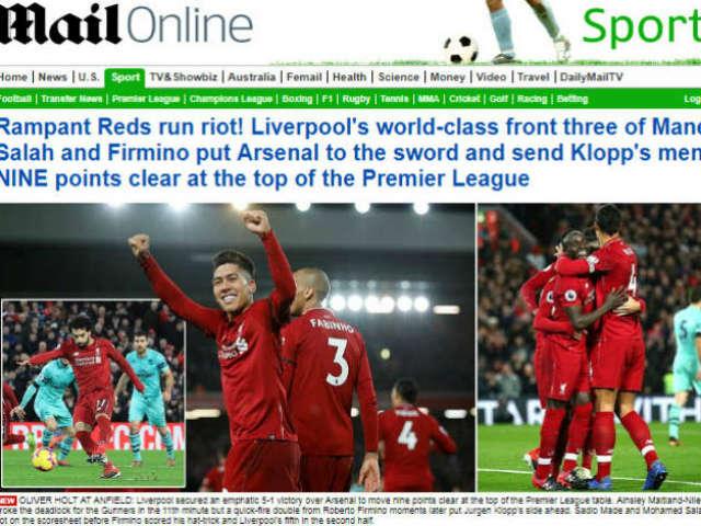 """Liverpool đè bẹp Arsenal: Báo Anh ngả mũ, chờ """"độc cô cầu bại"""" nâng cúp"""