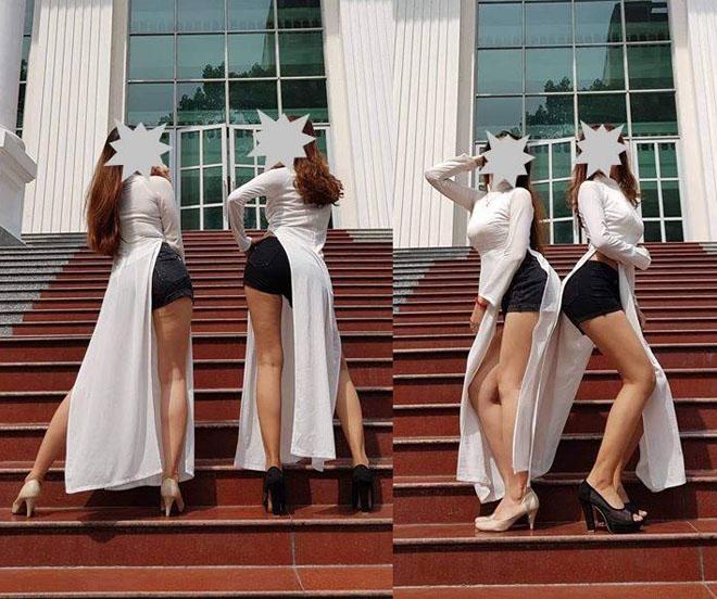 Nữ sinh mặc áo dài cùng quần ngắn: Thêm 1 thảm họa thời trang? - 1