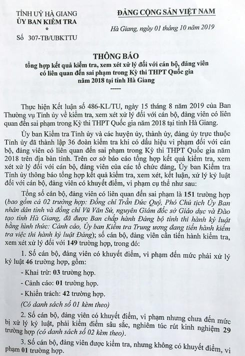 Danh sách 151 cán bộ, đảng viên Hà Giang liên quan đến sai phạm trong Kỳ thi THPT - 1
