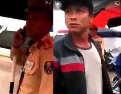 Vụ người dân ghi hình tại chốt CSGT bị hành hung: Xác định người lạ mặt cầm bộ đàm - 1