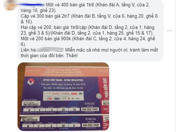 """Vé trận Việt Nam – Malaysia rao bán khắp chợ đen với giá """"trên trời"""" - 1"""
