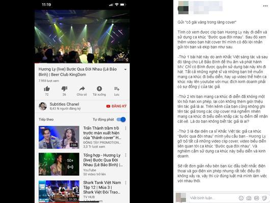 Phía Khắc Việt tố Hương Ly cover, biểu diễn ca khúc độc quyền không xin phép - 1