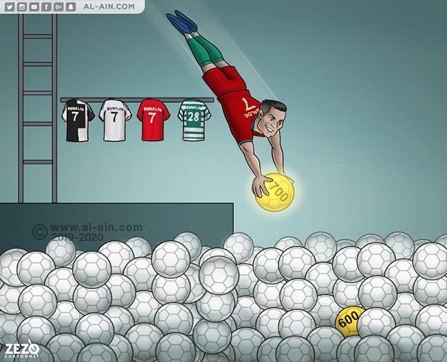 Ronaldo đạt cột mốc 700 bàn thắng trong sự nghiệp.