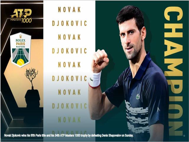 Thể thao - Djokovic vô địch Paris Masters: Cân bằng kỷ lục huyền thoại, hâm nóng ATP Finals