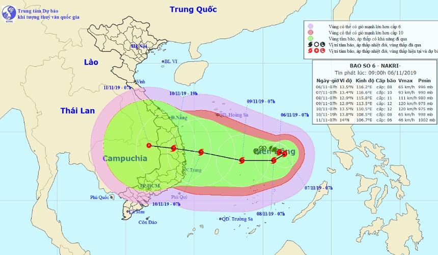 Bão số 6 Nakri liên tục đổi hướng, di chuyển nhanh về phía Trung và Nam Trung Bộ - 1