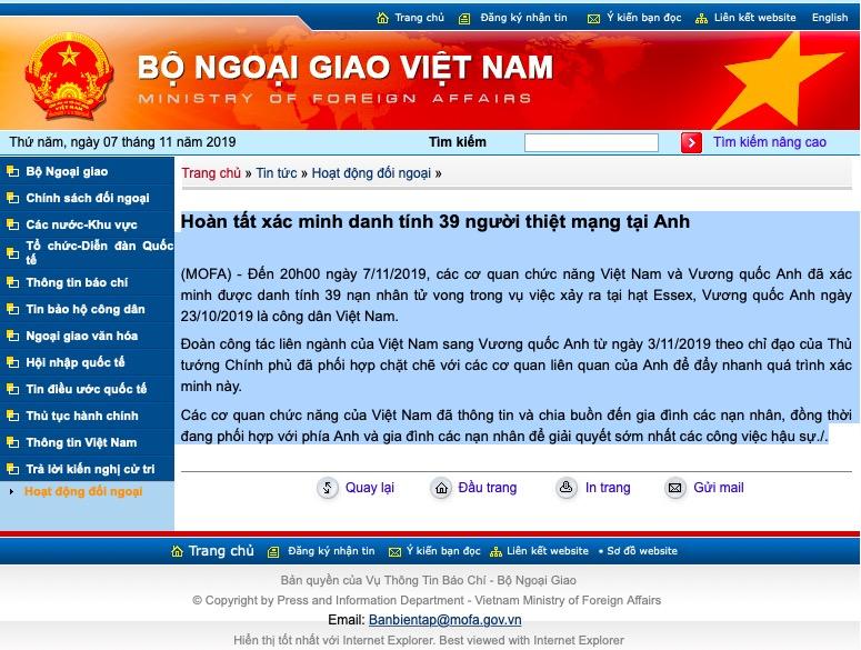 Đại sứ quán Việt Nam tại Anh: Sẽ đưa 39 nạn nhân về nước sớm nhất - 1