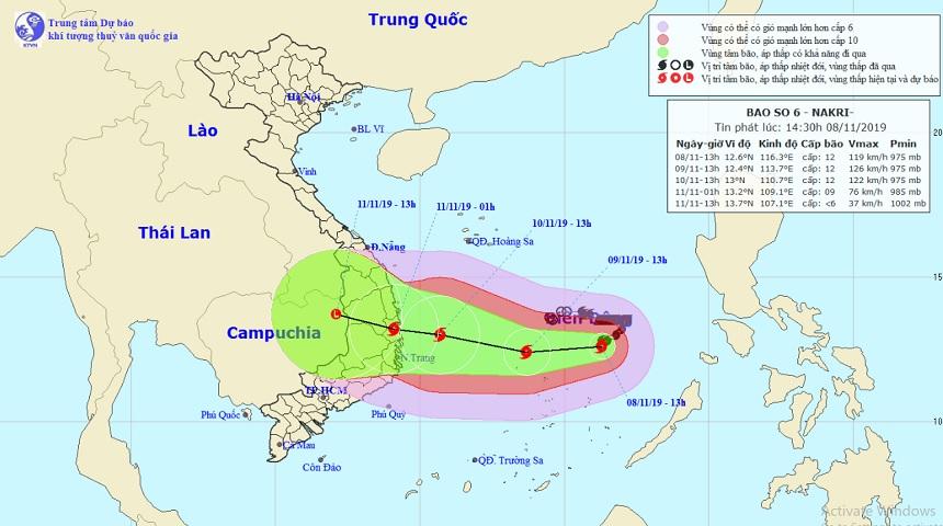 Bão số 6 đạt cực đại hướng vào Quảng Ngãi – Khánh Hòa, biển động dữ dội - 1