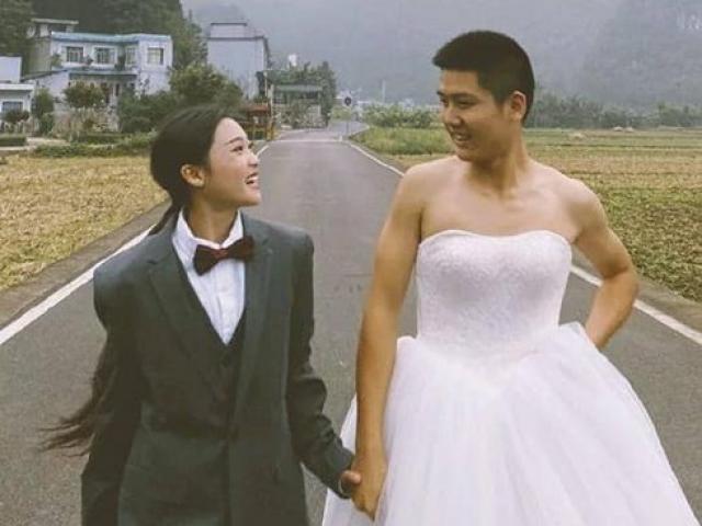 Bộ ảnh cưới đặc biệt hoán đổi trang phục gây xôn xao mạng xã hội