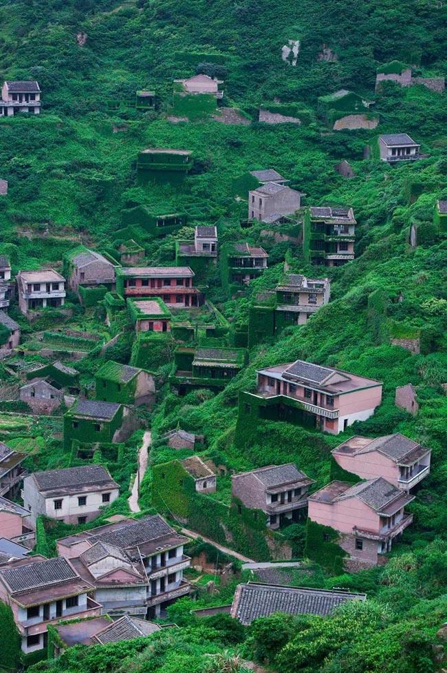 1.Ngôi làng chài bỏ hoang trên đảo Gouqi này từng là nơi sinh sống của 3000 người, nhưng bây giờ không còn ai sinh sống nữa và cây cối đã phủ xanh kín mọi lối đi. Nơi này còn được ví như ngôi làng không người ở đẹp nhất Trung Quốc.