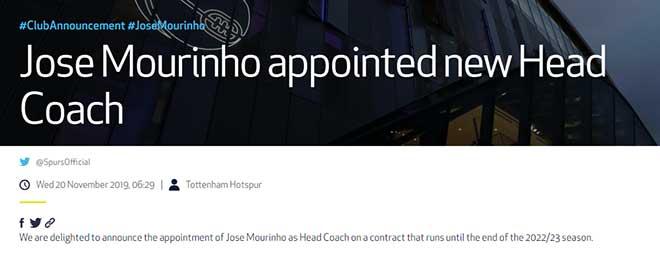 Tottenham CHÍNH THỨC bổ nhiệm Mourinho làm HLV trưởng, dẫn dắt luôn cuối tuần - 1
